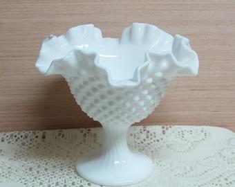 White Hobnail Milk Glass Pedestal Dish Wedding Summer Party Mid Century