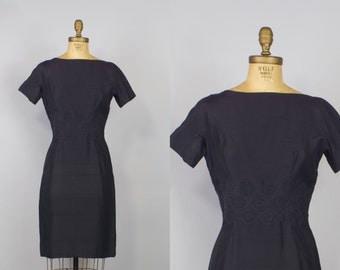 1950s Raw Silk Lord and Taylor Dress / 50s Dress /  Black Wiggle Dress /