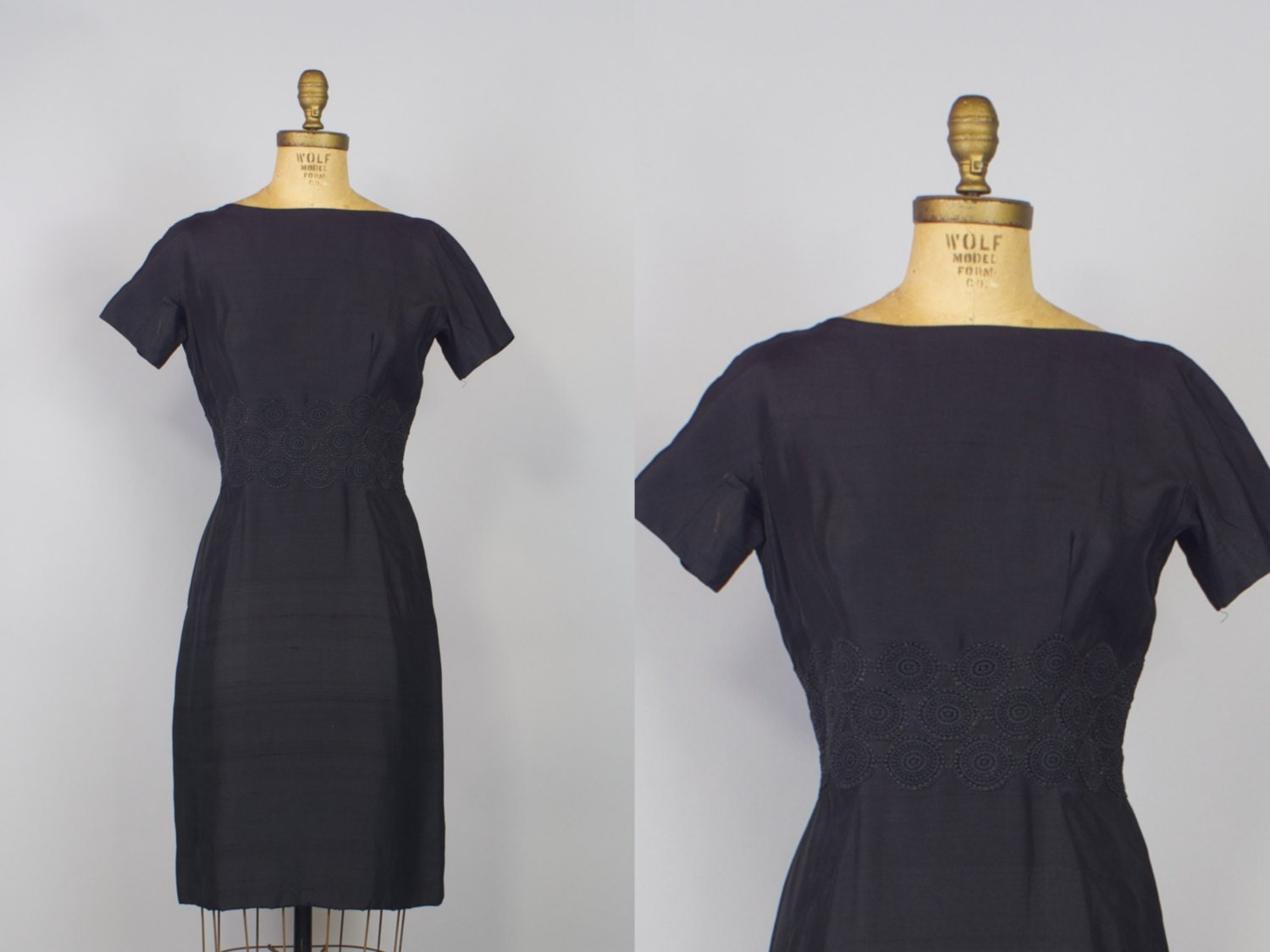 ... Lord and Taylor Silk Dress / 50s Dress / Black Wiggle Dress / on Etsy