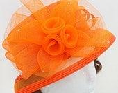 Kentucky Derby hat, Derby hat, Orange Dressy Flower Dressy Hat, Church Hat, Kentucky Derby Hat Del Mar Races, Wedding