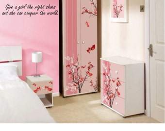 Give a girl the right shoes and she can conquer the world Quote Wall Decal