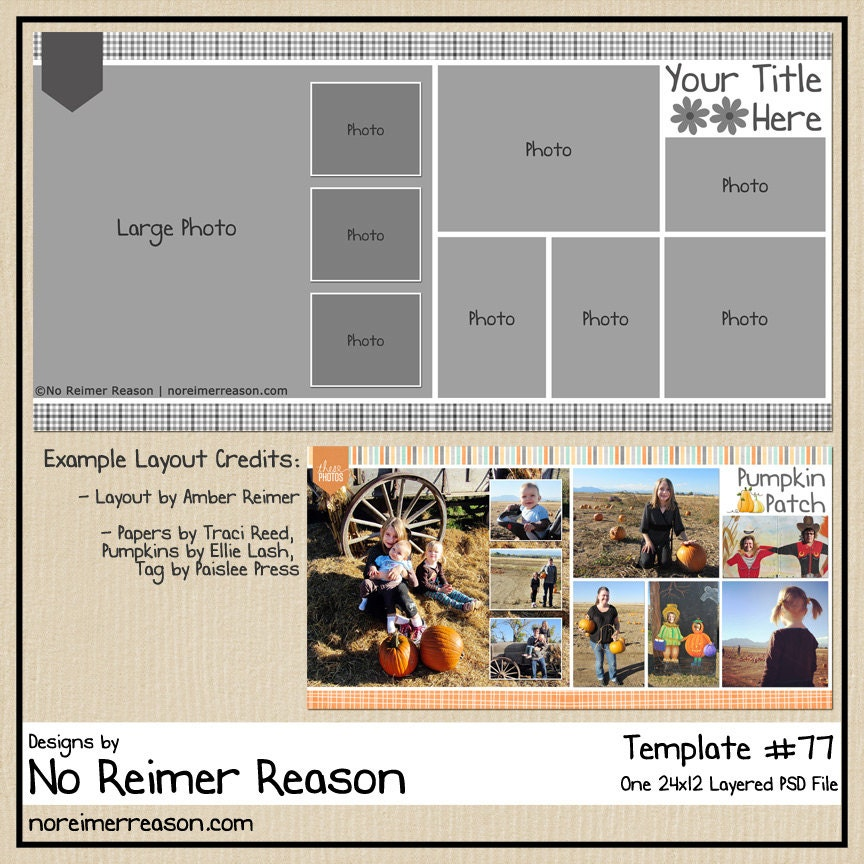12x12 digital scrapbooking template 2 page layout psd for 12x12 room layout