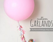 Balloon Tassel // FABRIC Garland Ribbon Banner // Cottage, Shabby Chic, Modern, Rustic, Wedding, Nursery, Shower, Party, Decor, GiFT