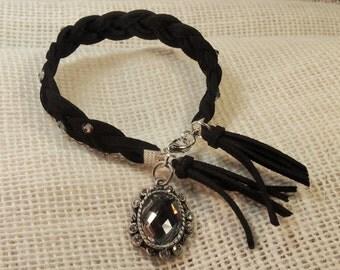 braided , leather , bracelet ,swarovski cristals , charms