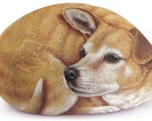 Finely Detailed Dog Portrait Painted on a Sea Rock | Unique Stone Artworks in Memory of your Pet Hand Painted by the Artist Roberto Rizzo