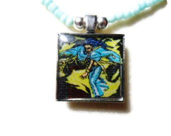 Lufia and the Fortress of Doom Erim pendant with seed beads -  20 inches - super nintendo - necklace - retro gamer, lufia snes, videogame