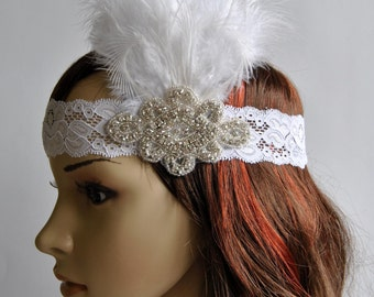 Lace Flapper Feather Headband, The Great Gatsby Headband, 20s, Vintage Inspired, 1920's, Feather, Lace rhinestone headband