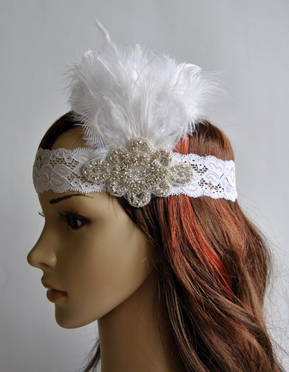 Lace Flapper Feather Headband The Great Gatsby by ...