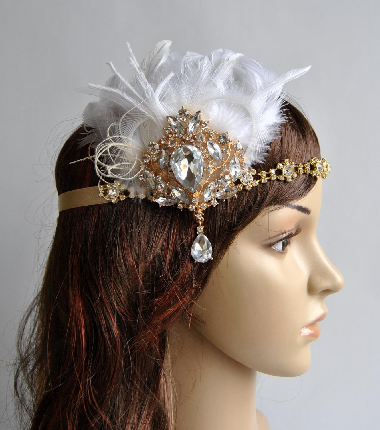 gatsby style hair accessories ready to ship gold 1920 s gatsby headpiece chamagne gold 4071
