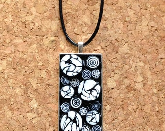 Black and White Millefiori Mosaic Necklace