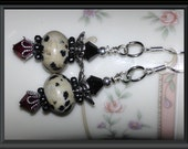 BLACK & IVORY Dalmation Speckled Stone Beaded Earrings: Swarovski Crystals, Jasper Spacers, Silver Plated Accents, Sterling Silver Earwires