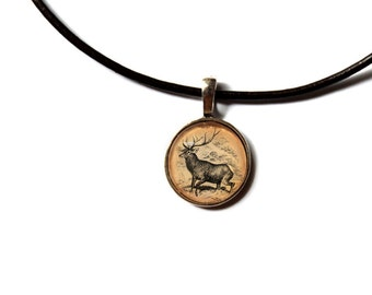 Wild deer pendant Forest stag necklace Woodland jewelry NW151