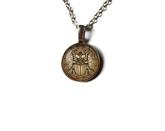 Scarab pendant Beetle mandala jewelry Sacred geometry necklace NW154