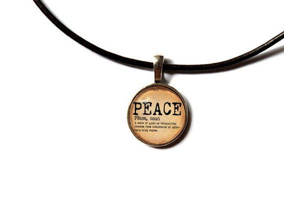 Dictionary pendant Peace necklace Word definition jewelry