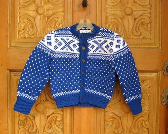 handknit Scandinavian Children's size Norwegian Setesdal Pattern Sweater. Blue and White. Acrylic Yarn