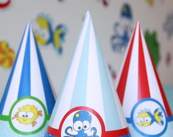 Under the Sea Party Hat - Under the Sea Birthday Hat - Under the Sea First Birthday - Fish Birthday - Fish Party (Instant Download)