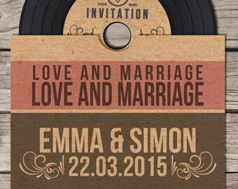 40 x Vinyl Retro Vintage CD Wedding Invitation
