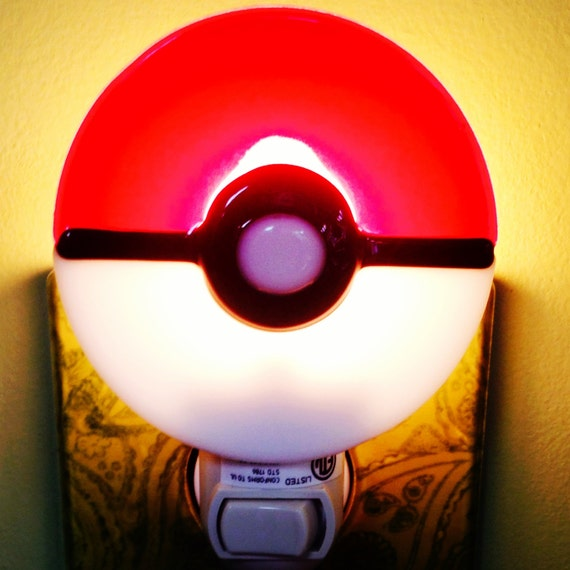 Pokemon night light fused glass pokeball by for Night light design