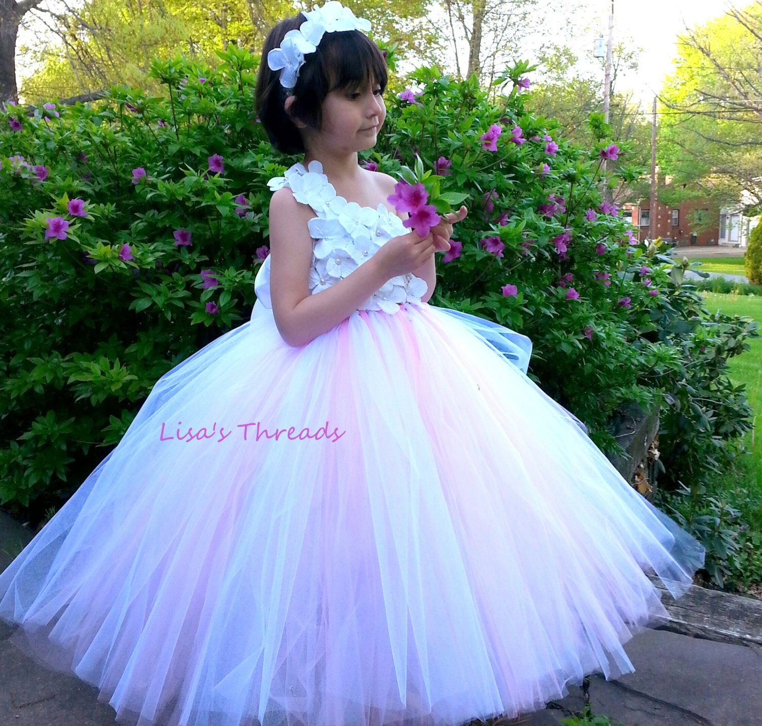 Light pink flower girl dress Junior bridesmaids dress Flower