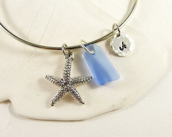 Starfish charm bangle bracelet initial jewelry customized sterling silver monogram sea glass bracelet seaglass charm bracelet jewelry gift