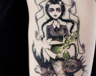 Wednesday Mermaid Temporary Tattoo