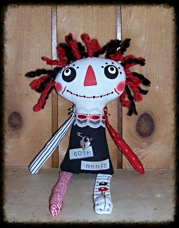 "Folk Art Primsical Whimsical Whimsy Goth Raggedy Annie Ann Art Doll ""Manda"" FosterChild Whimseys"