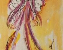 Angel Painting on Paper, Original Painting, Guardian Angel, Small Paintings, Angel Art