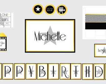 Movie Party Theme-Hollywood Party Theme- Hollywood Movie Star Theme-Movie Night- Movie Ticket Invitation