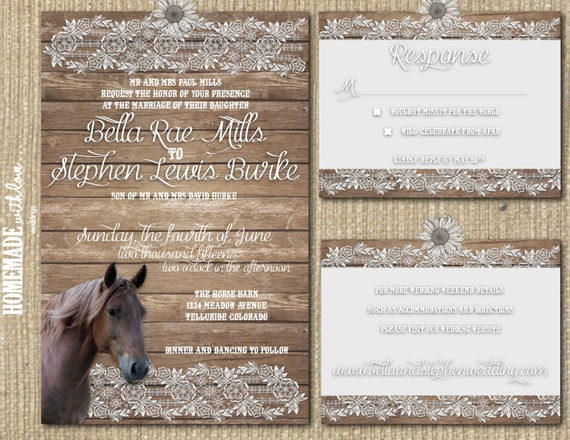 The Rustic Horse Collection Set - Printable Wedding Invitation - DIY - Custom - Country - Western - Barn - Wood - Lace - Brown - White