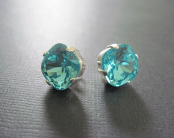 Light Turquoise Swarovski Crystal Earrings/Swarovski Crystal Studs/ Swarovski Earrings/ Square Crystal Studs