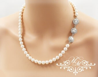 Wedding Necklace Single Strand Swarovski Pearl Necklace Rhinestone Necklace Bridal Necklace Bridal Jewelry Bridesmaids Necklace - ORLA