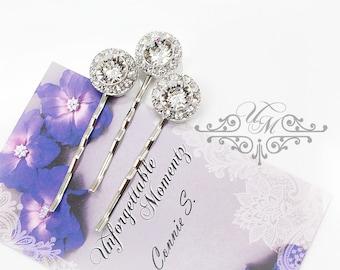 Set Swarovski Crystal hair pins Wedding Headpiece Wedding Hair pins Bridal hair pins Bridesmaids hair pins Rhinestone round pins - ORLA