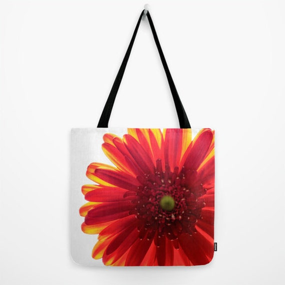 Red Daisy Tote, Red Yellow White, Macro Photography, Red Flower Bag, Beautiful Flower, Gym Bag, Shopping Bag, Red Purse, Small and Large Bag