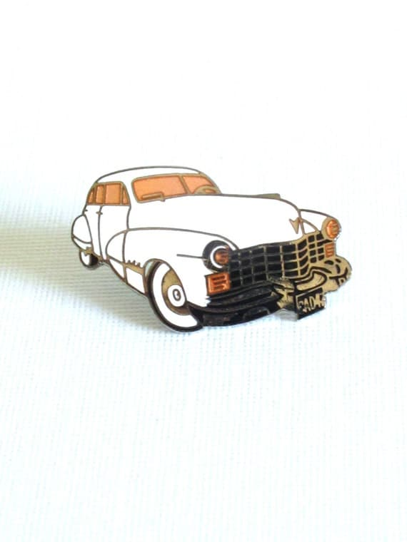 1980s 50s style white car pin brooch by Demons and Merveilles