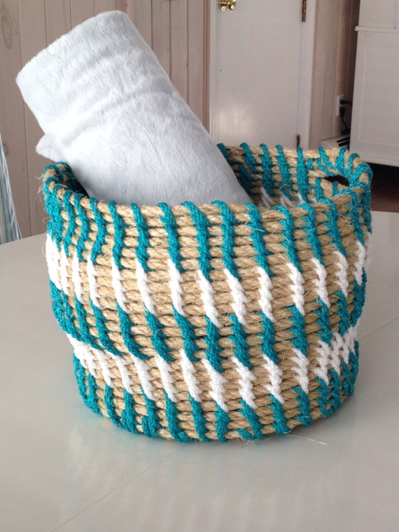 Woven Yarn Basket : Items similar to large slouchy woven striped rope basket