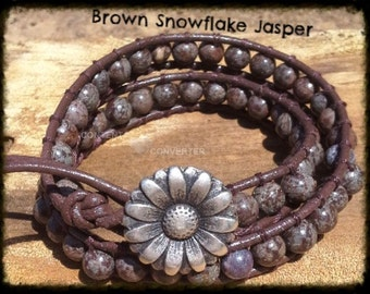 Leather Wrap Bracelet - Boho Leather Wrap Bracelet - Brown Snowflake Jasper Gemstone Wrap Bracelet
