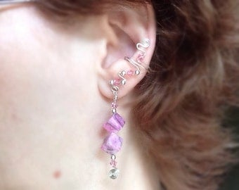 Pink Crazy Lace Agate and Swarovski Crystals EarCuffs, pair, comfortable and no pierced ears necessary with protective coating