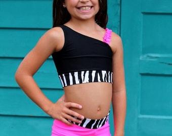 Zebra, Pink, and Black Dance Outfit, dancewear, Size 2-14, Dance, Cheer, Gymnastics