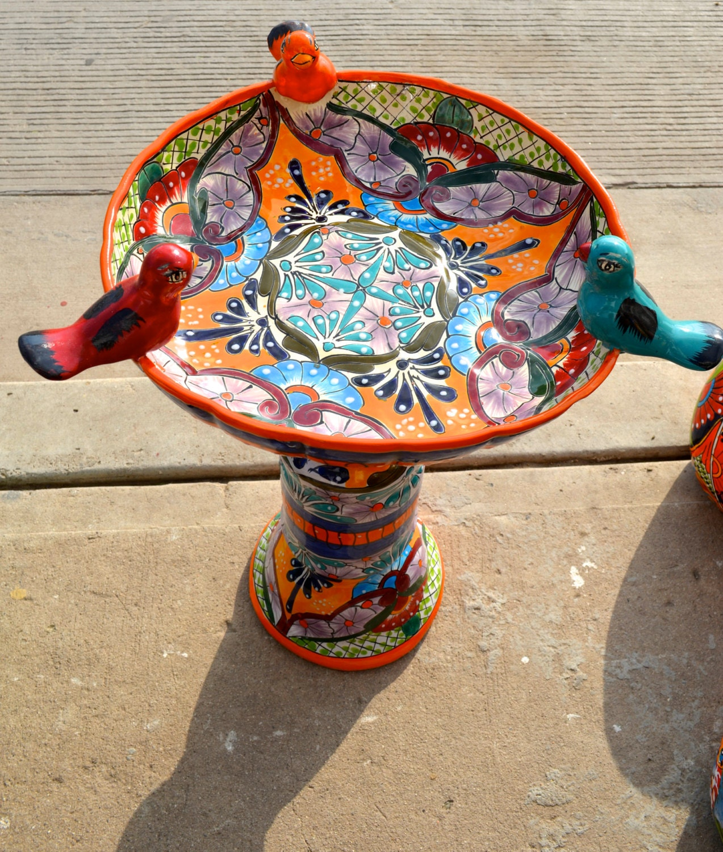 Talavera Mexican Pottery Bird Bath By Mexicantalavera On Etsy