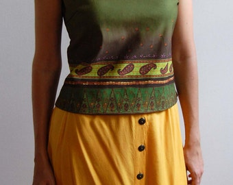 Vintage Olive Green Tank Top with Paisley Print size L