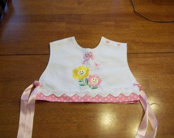 Pink Girl Bibs with Flowers
