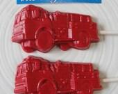 Chocolate Firetruck Lollipops Birthday Party Favors Firefighter Fire Engine Fireman Hero