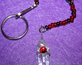 Crystal Pendulum with Red Beads