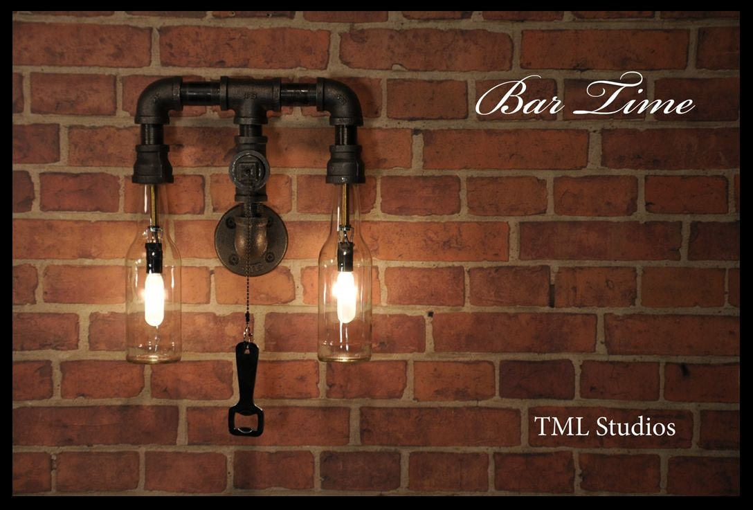 Bar Time Industrial Plumbing Pipe Beer Bottle Wall Sconce