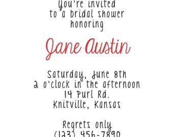 Knitting Pattern Party Invitation:  printable