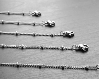 """20"""" Stainless Steel Ball Station Chain for Floating Lockets-Stainless Steel-Gift Idea"""