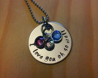 Hand Stamped Necklace I love you -  With 3 Birthstones - I love you necklace