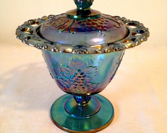 Indiana Glass Co Carnival Glass Candy/Jam Dish, Carnival Glass, Harvest Grape, Lace Edge
