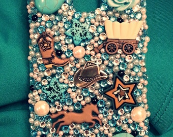 Country Western Turquoise bling phone case, iphone bling case, cowgirl bling phone case