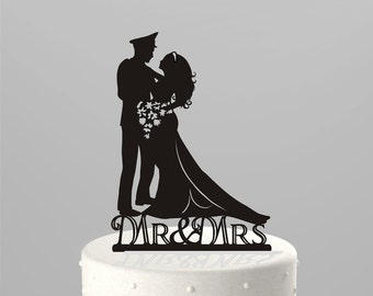 FREE Shipping! Ships NEXT Day! Wedding Cake Topper Silhouette Military Groom & Bride, Officer, Uniform Cake Topper in BLACK Acrylic [CT9m]